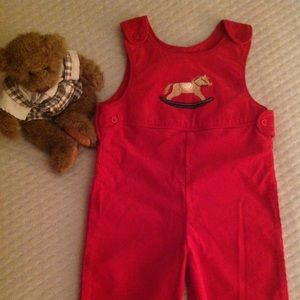 Talbots Kids New Red Corduroy Holiday Overall 9mo